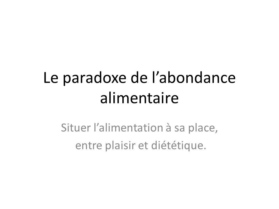 Le paradoxe de labondance alimentaire Situer lalimentation à sa place, entre plaisir et diététique.
