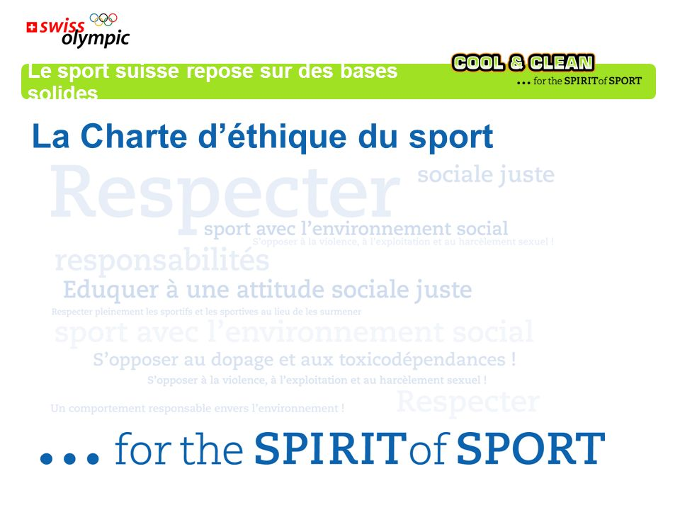 Le sport suisse repose sur des bases solides La Charte déthique du sport