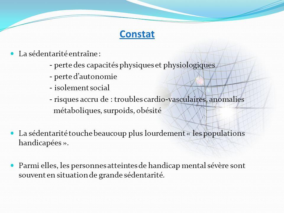 Constat La sédentarité entraîne : - perte des capacités physiques et physiologiques - perte dautonomie - isolement social - risques accru de : trouble