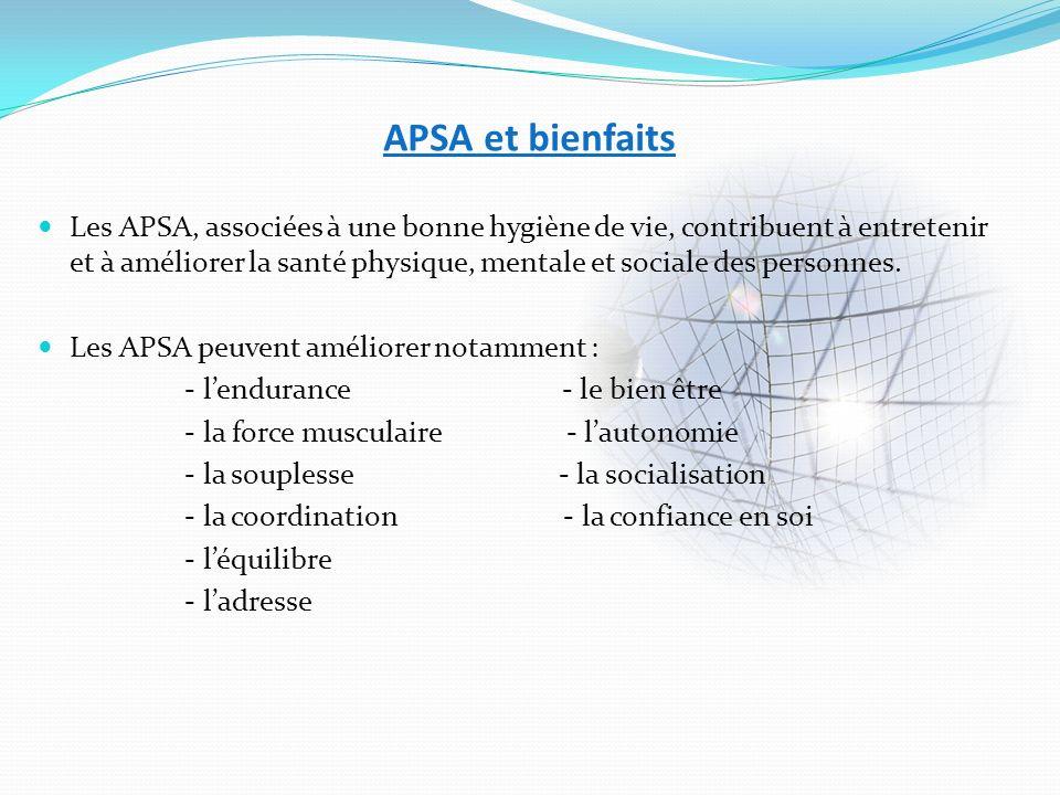 APSA et bienfaits Les APSA, associées à une bonne hygiène de vie, contribuent à entretenir et à améliorer la santé physique, mentale et sociale des pe