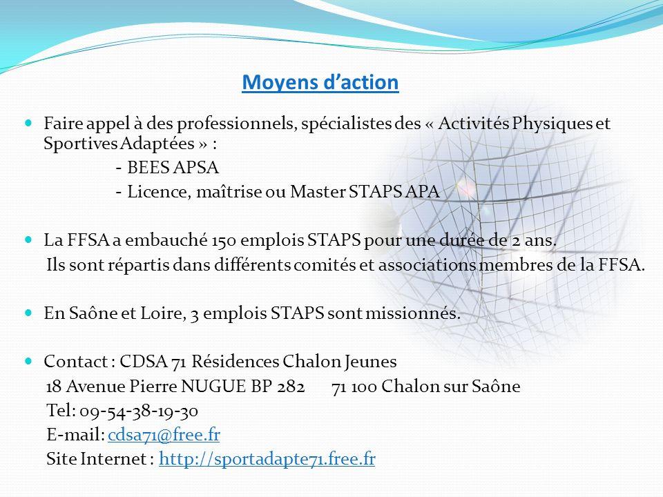 Moyens daction Faire appel à des professionnels, spécialistes des « Activités Physiques et Sportives Adaptées » : - BEES APSA - Licence, maîtrise ou M