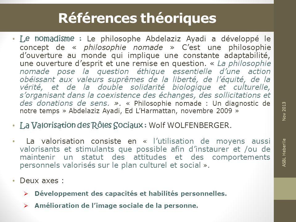 Références théoriques Le nomadisme : Le philosophe Abdelaziz Ayadi a développé le concept de « philosophie nomade » Cest une philosophie douverture au