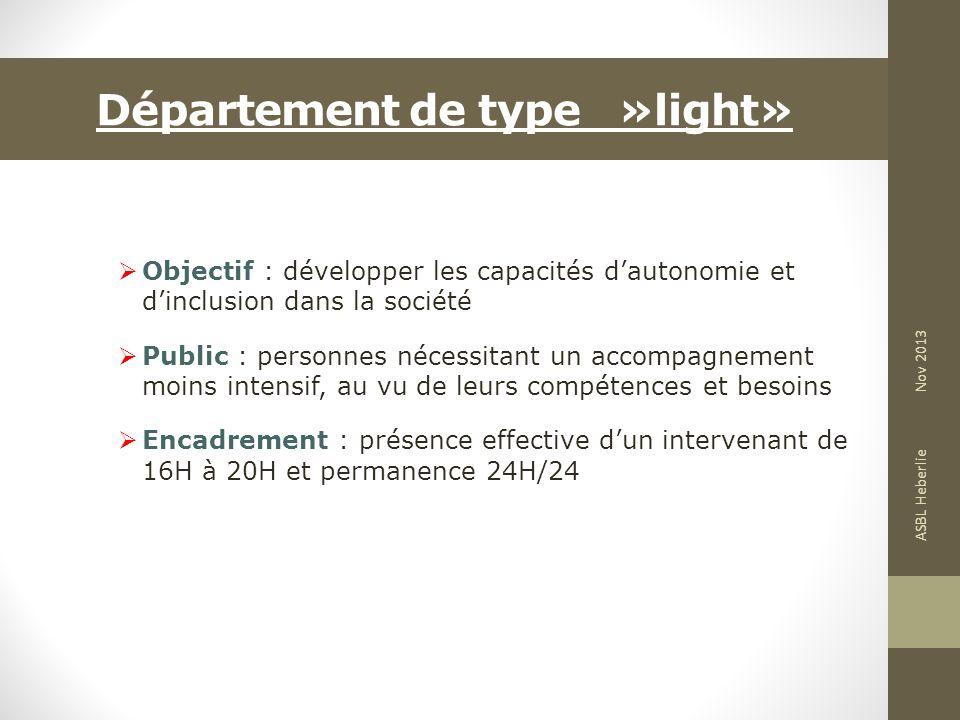 Département de type »light» Objectif : développer les capacités dautonomie et dinclusion dans la société Public : personnes nécessitant un accompagnem