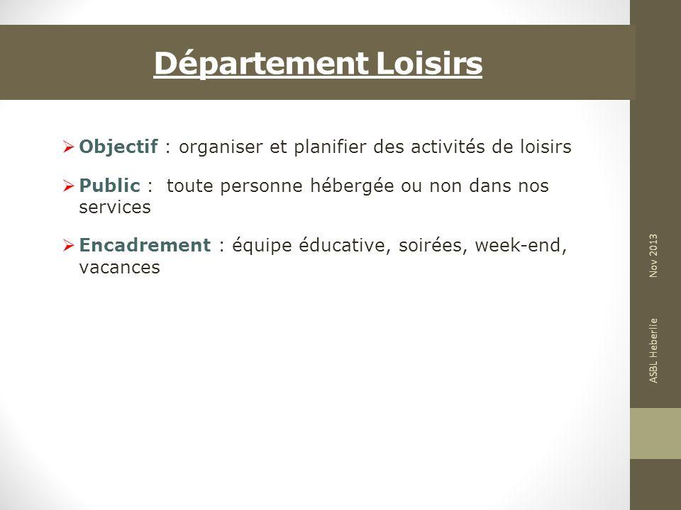 Département Loisirs Objectif : organiser et planifier des activités de loisirs Public : toute personne hébergée ou non dans nos services Encadrement :