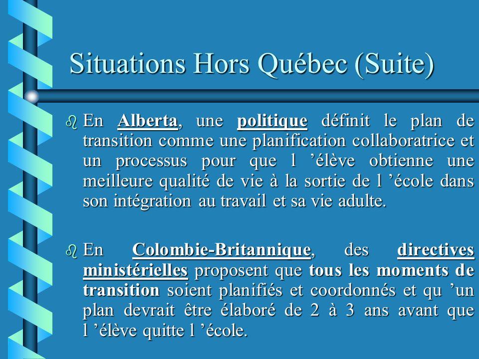 Situations Hors Québec (Suite) b En Alberta, une politique définit le plan de transition comme une planification collaboratrice et un processus pour que l élève obtienne une meilleure qualité de vie à la sortie de l école dans son intégration au travail et sa vie adulte.