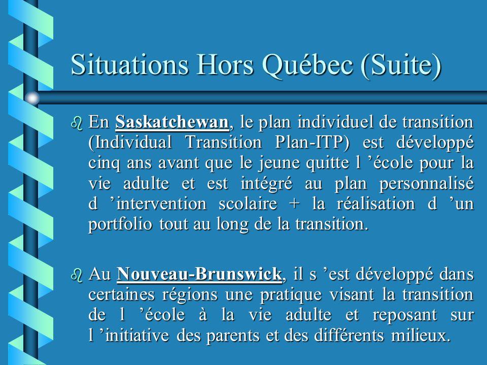 Situations Hors Québec (Suite) b En Saskatchewan, le plan individuel de transition (Individual Transition Plan-ITP) est développé cinq ans avant que le jeune quitte l école pour la vie adulte et est intégré au plan personnalisé d intervention scolaire + la réalisation d un portfolio tout au long de la transition.