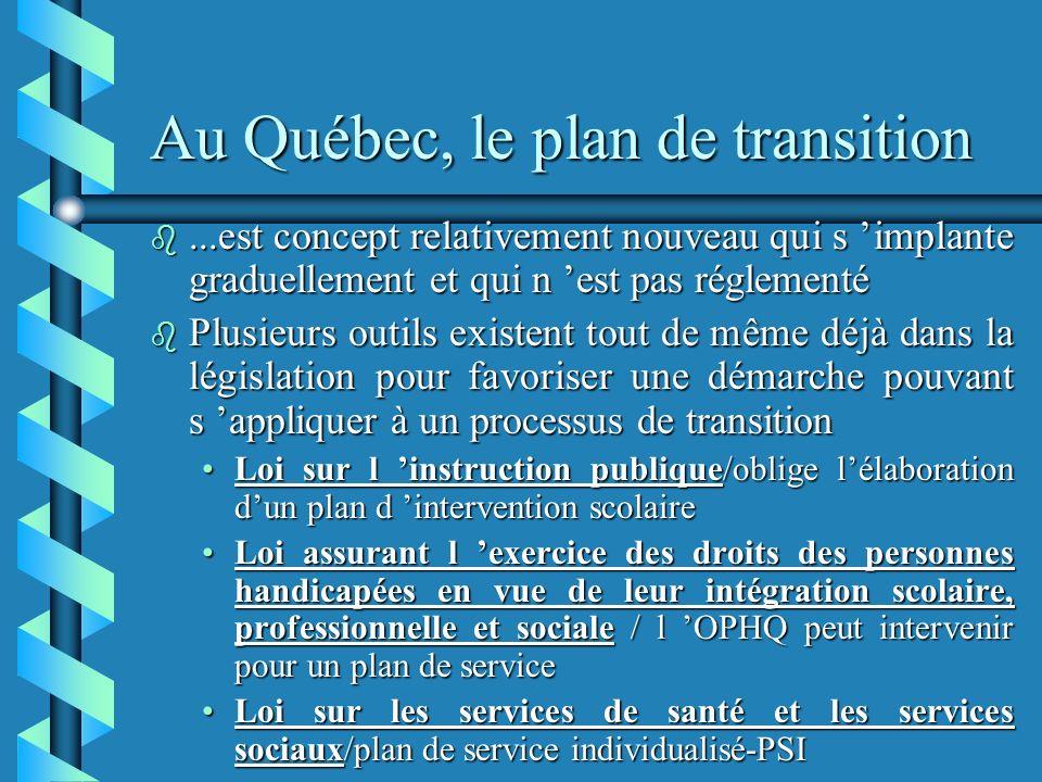 Au Québec, le plan de transition b...est concept relativement nouveau qui s implante graduellement et qui n est pas réglementé b Plusieurs outils existent tout de même déjà dans la législation pour favoriser une démarche pouvant s appliquer à un processus de transition Loi sur l instruction publique/oblige lélaboration dun plan d intervention scolaireLoi sur l instruction publique/oblige lélaboration dun plan d intervention scolaire Loi assurant l exercice des droits des personnes handicapées en vue de leur intégration scolaire, professionnelle et sociale / l OPHQ peut intervenir pour un plan de serviceLoi assurant l exercice des droits des personnes handicapées en vue de leur intégration scolaire, professionnelle et sociale / l OPHQ peut intervenir pour un plan de service Loi sur les services de santé et les services sociaux/plan de service individualisé-PSILoi sur les services de santé et les services sociaux/plan de service individualisé-PSI