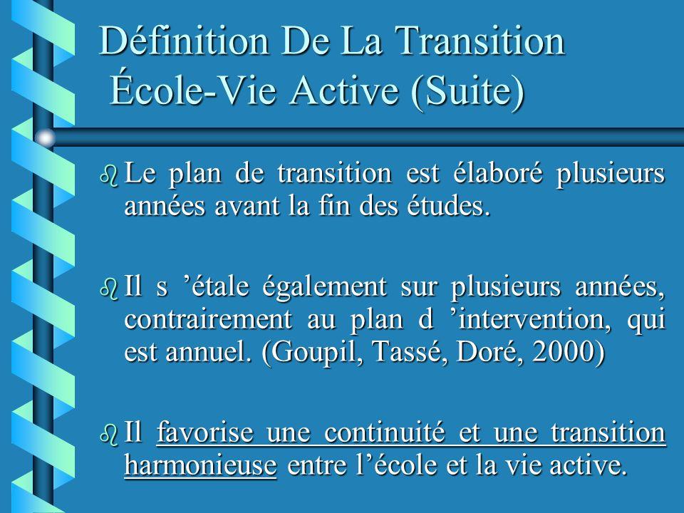 Définition De La Transition École-Vie Active (Suite) b Le plan de transition est élaboré plusieurs années avant la fin des études.
