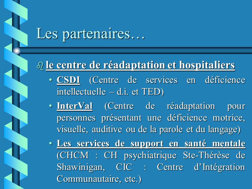 Les partenaires… b le centre de réadaptation et hospitaliers CSDI (Centre de services en déficience intellectuelle – d.i.