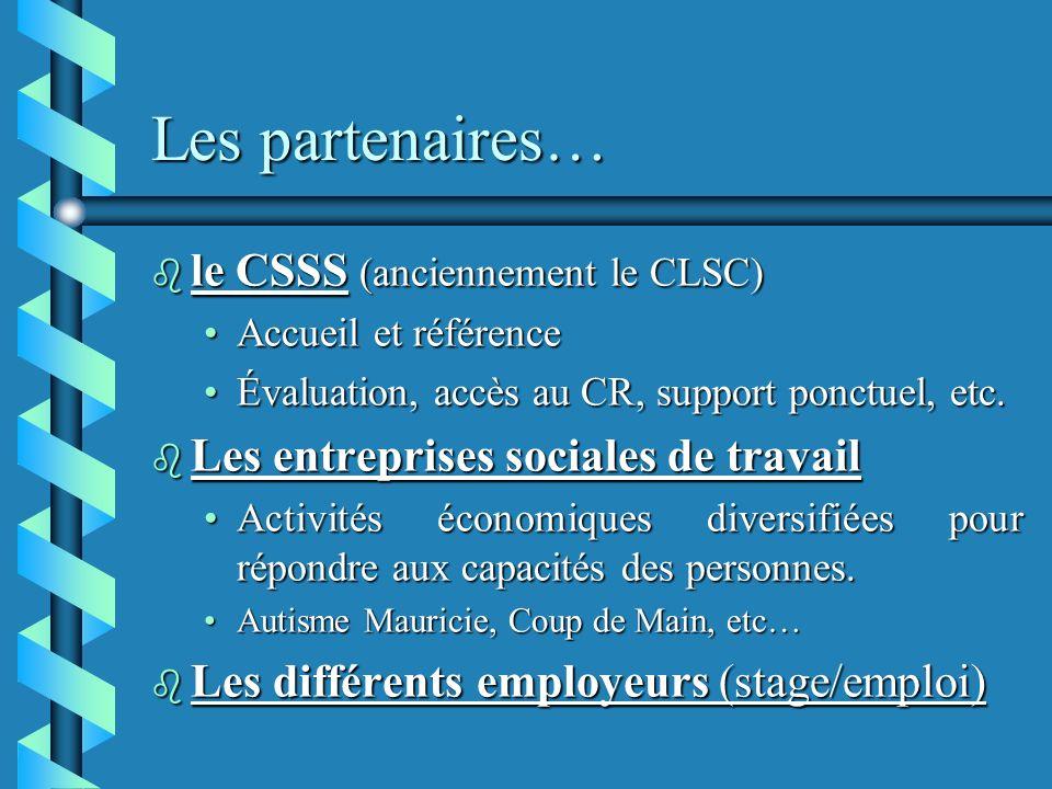 Les partenaires… b le CSSS (anciennement le CLSC) Accueil et référenceAccueil et référence Évaluation, accès au CR, support ponctuel, etc.Évaluation, accès au CR, support ponctuel, etc.