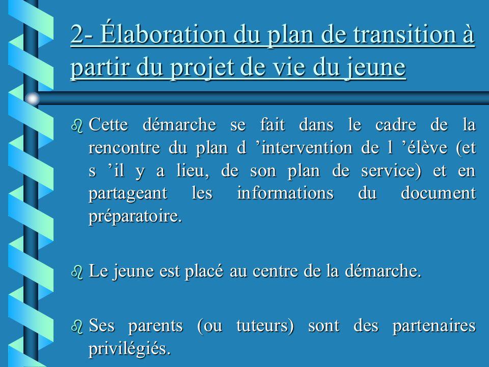 2- Élaboration du plan de transition à partir du projet de vie du jeune b Cette démarche se fait dans le cadre de la rencontre du plan d intervention de l élève (et s il y a lieu, de son plan de service) et en partageant les informations du document préparatoire.