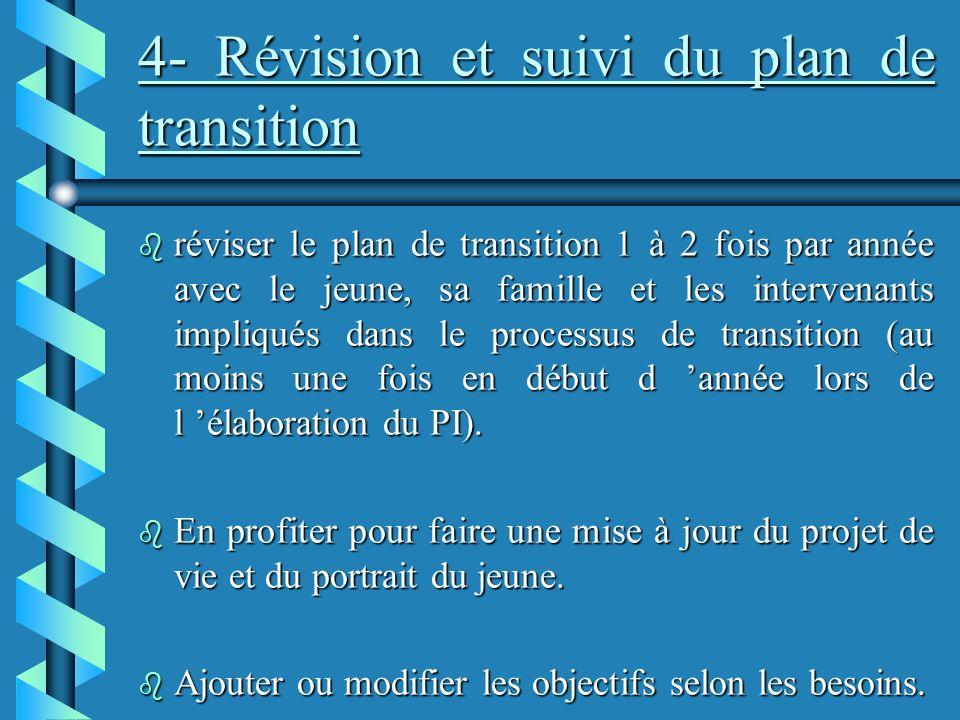4- Révision et suivi du plan de transition b réviser le plan de transition 1 à 2 fois par année avec le jeune, sa famille et les intervenants impliqués dans le processus de transition (au moins une fois en début d année lors de l élaboration du PI).