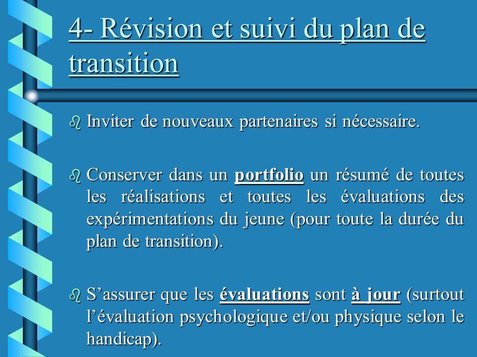 4- Révision et suivi du plan de transition b Inviter de nouveaux partenaires si nécessaire.