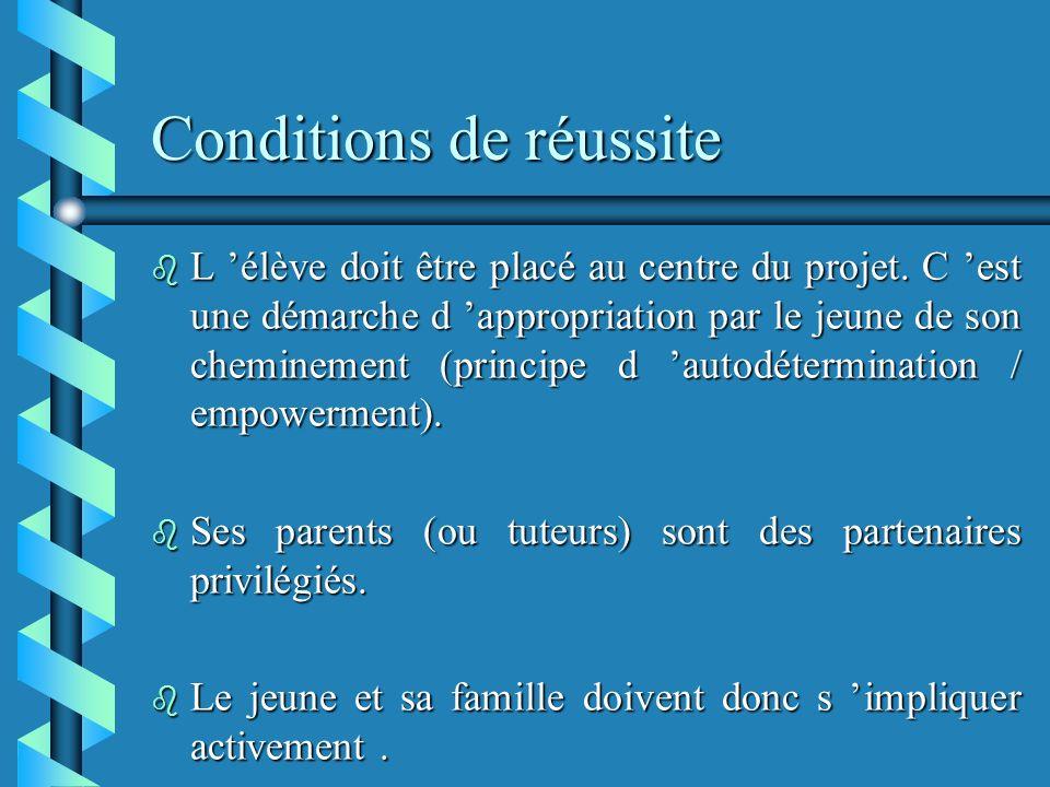 Conditions de réussite b L élève doit être placé au centre du projet.