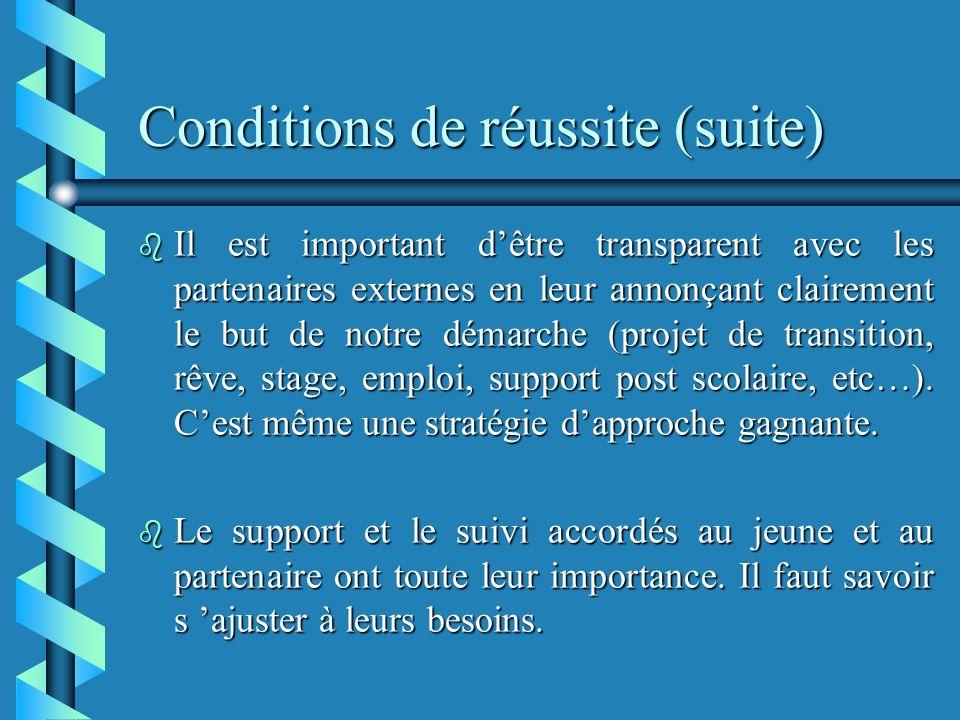 Conditions de réussite (suite) b Il est important dêtre transparent avec les partenaires externes en leur annonçant clairement le but de notre démarche (projet de transition, rêve, stage, emploi, support post scolaire, etc…).