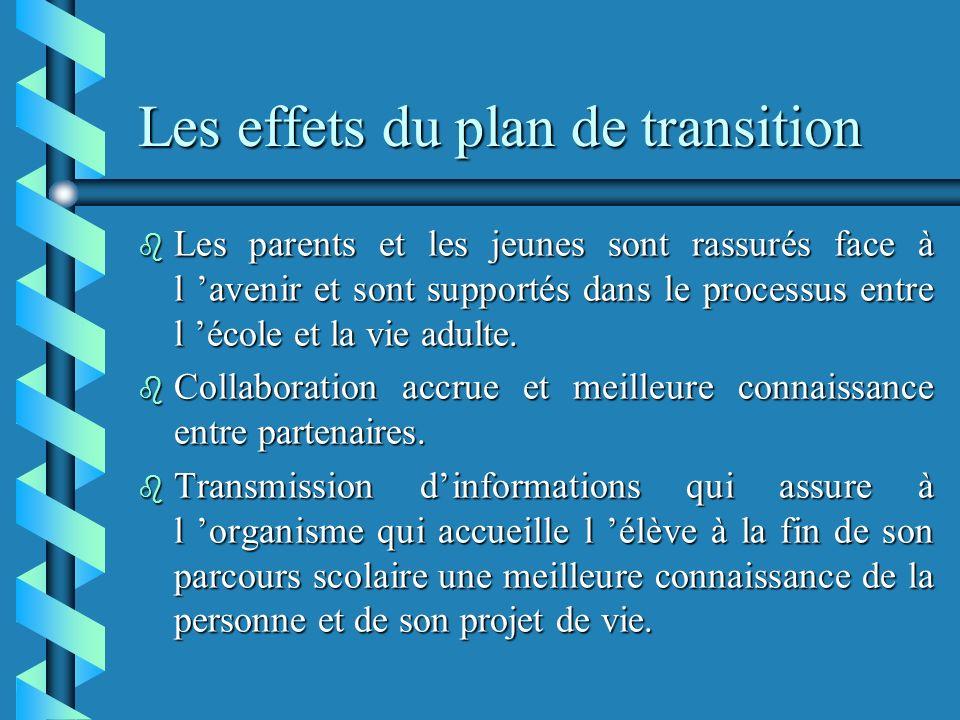 Les effets du plan de transition b Les parents et les jeunes sont rassurés face à l avenir et sont supportés dans le processus entre l école et la vie adulte.