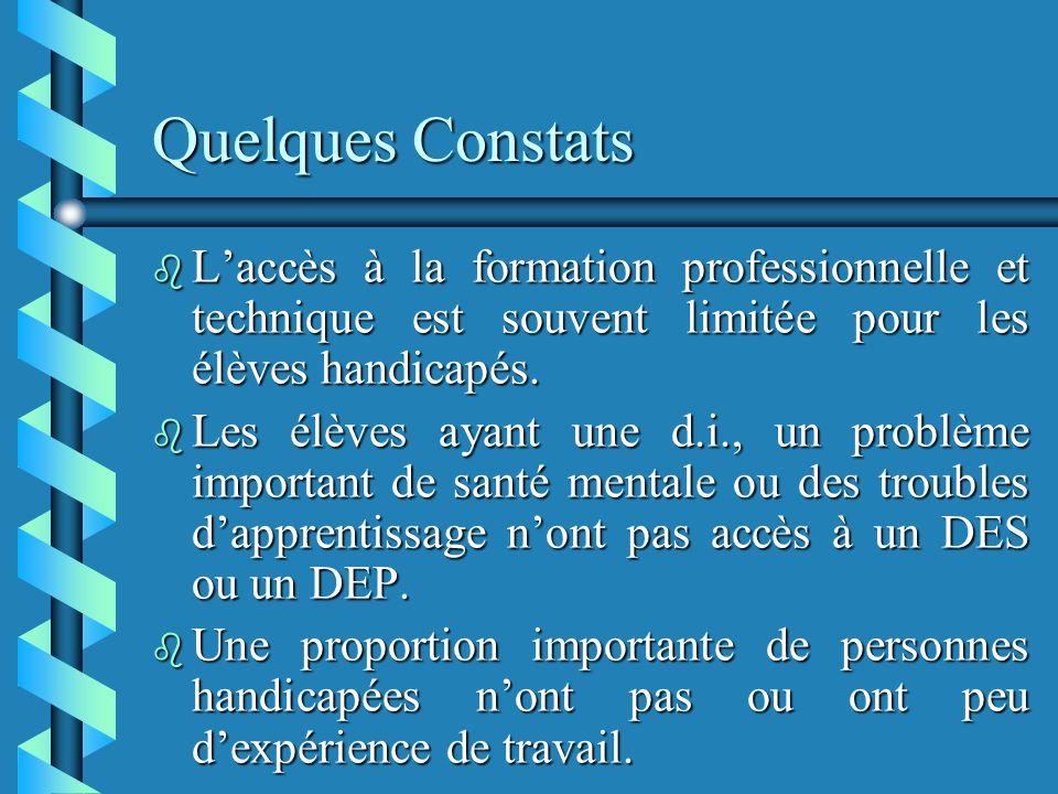 Quelques Constats b Laccès à la formation professionnelle et technique est souvent limitée pour les élèves handicapés.