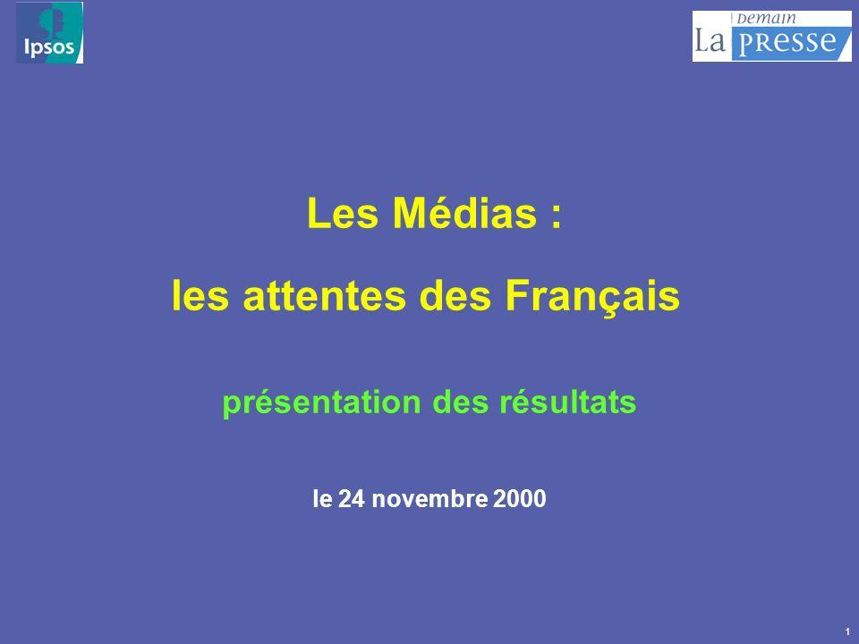 1 Les Médias : les attentes des Français présentation des résultats le 24 novembre 2000