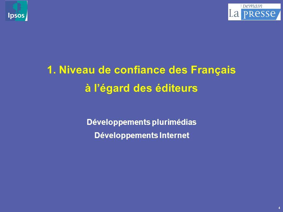 4 1. Niveau de confiance des Français à légard des éditeurs Développements plurimédias Développements Internet 1. Niveau de confiance des Français à l