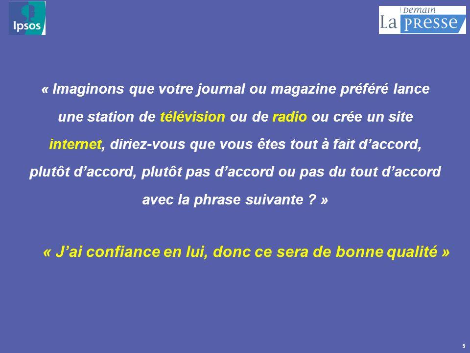 5 « Imaginons que votre journal ou magazine préféré lance une station de télévision ou de radio ou crée un site internet, diriez-vous que vous êtes to