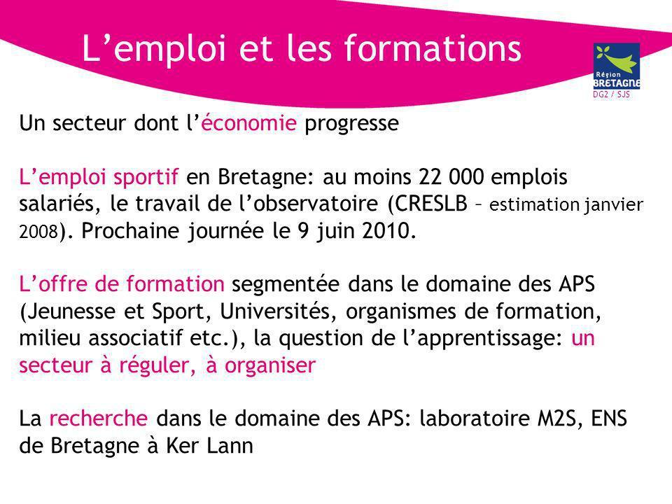 DG2 / SJS Lemploi et les formations Un secteur dont léconomie progresse Lemploi sportif en Bretagne: au moins 22 000 emplois salariés, le travail de lobservatoire (CRESLB – estimation janvier 2008 ).