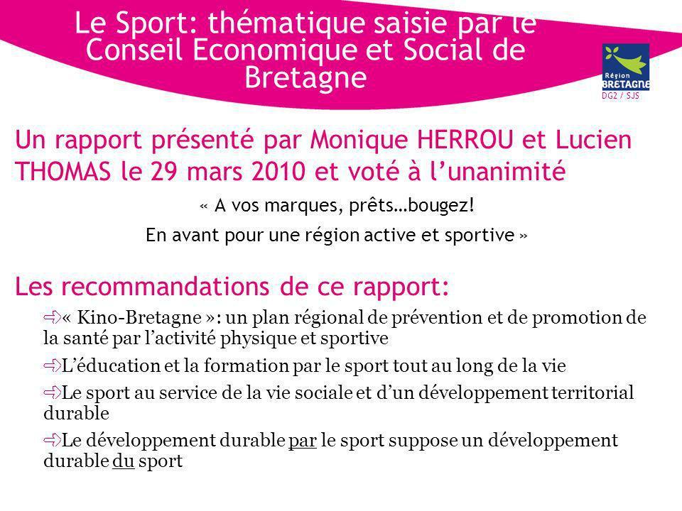 DG2 / SJS Le Sport: thématique saisie par le Conseil Economique et Social de Bretagne Un rapport présenté par Monique HERROU et Lucien THOMAS le 29 mars 2010 et voté à lunanimité « A vos marques, prêts…bougez.