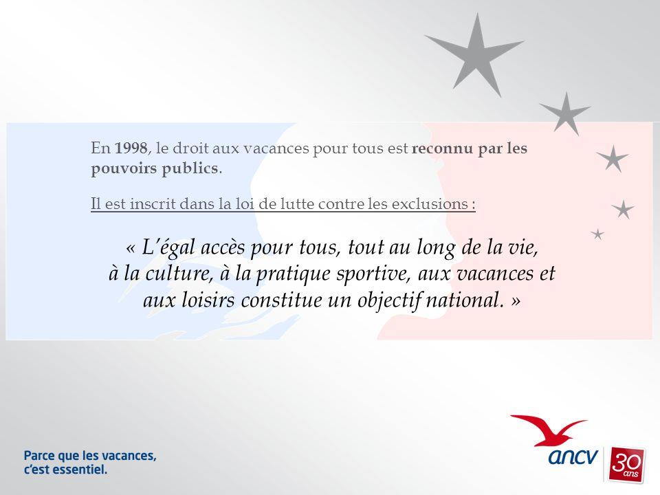 En 1998, le droit aux vacances pour tous est reconnu par les pouvoirs publics. Il est inscrit dans la loi de lutte contre les exclusions : « Légal acc