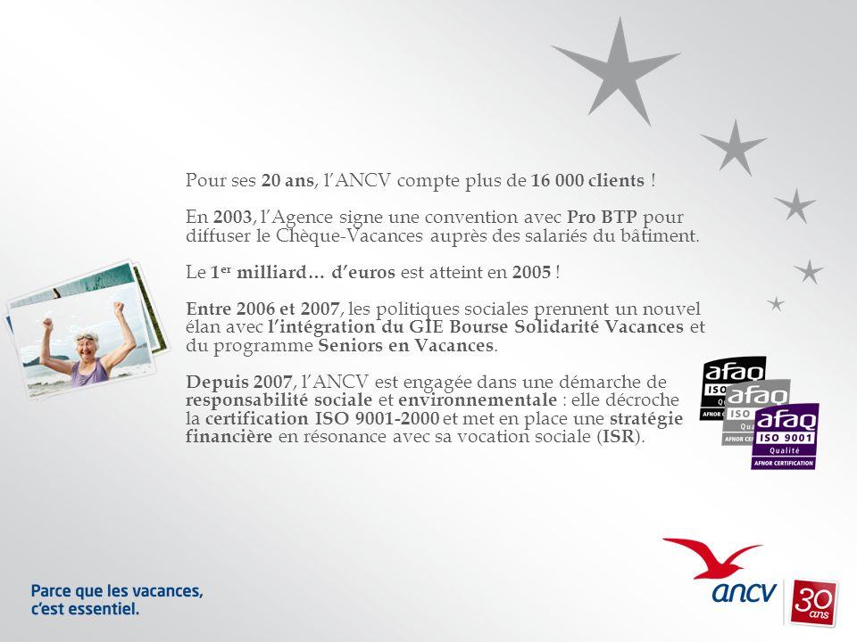 Pour ses 20 ans, lANCV compte plus de 16 000 clients ! En 2003, lAgence signe une convention avec Pro BTP pour diffuser le Chèque-Vacances auprès des