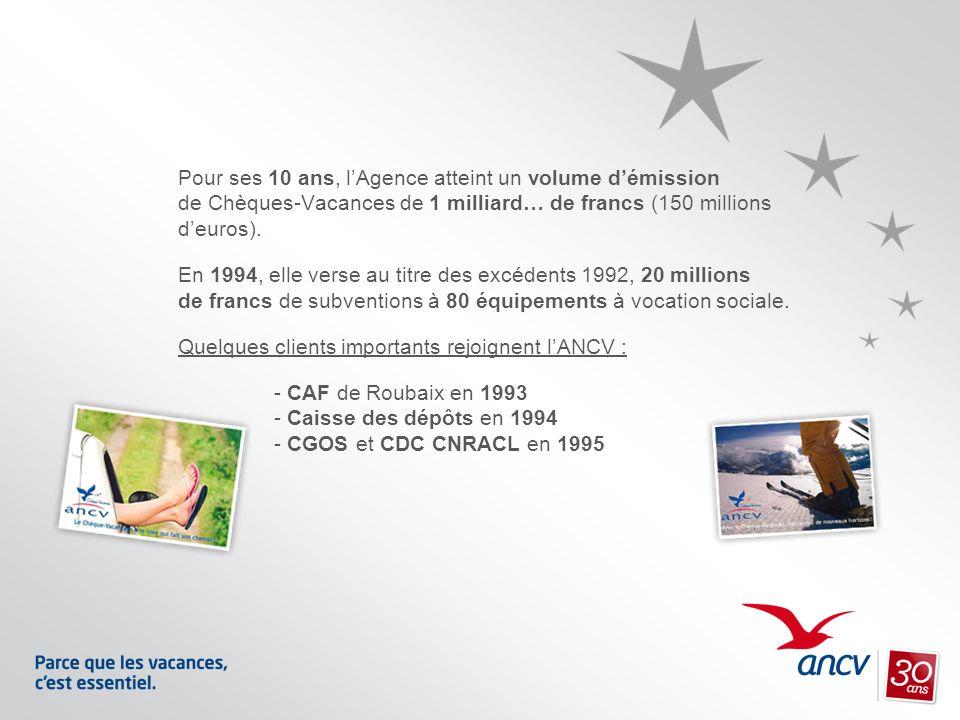 Pour ses 10 ans, lAgence atteint un volume démission de Chèques-Vacances de 1 milliard… de francs (150 millions deuros). En 1994, elle verse au titre