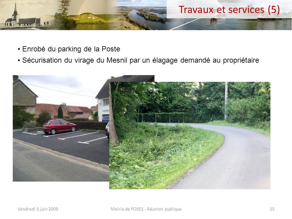 Mairie de POSES - Réunion publiqueVendredi 5 juin 200914 Travaux et services (4) Mise en place du totem rue de Léry Réhabilitation du mur du gîte rura