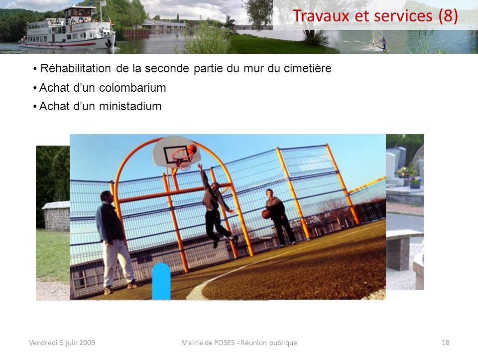 Mairie de POSES - Réunion publiqueVendredi 5 juin 200917 Réhabilitation de la passerelle du barrage (Conseil Général) Opération mesure des vitesses su