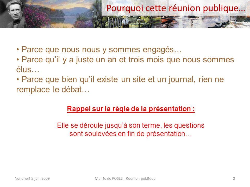 Communication Mairie de POSES - Réunion publiqueVendredi 5 juin 200922 Poursuite de lalimentation du site www.poses.fr à ce jour une centaine darticles en ligne, avec de plus en plus de photographies.