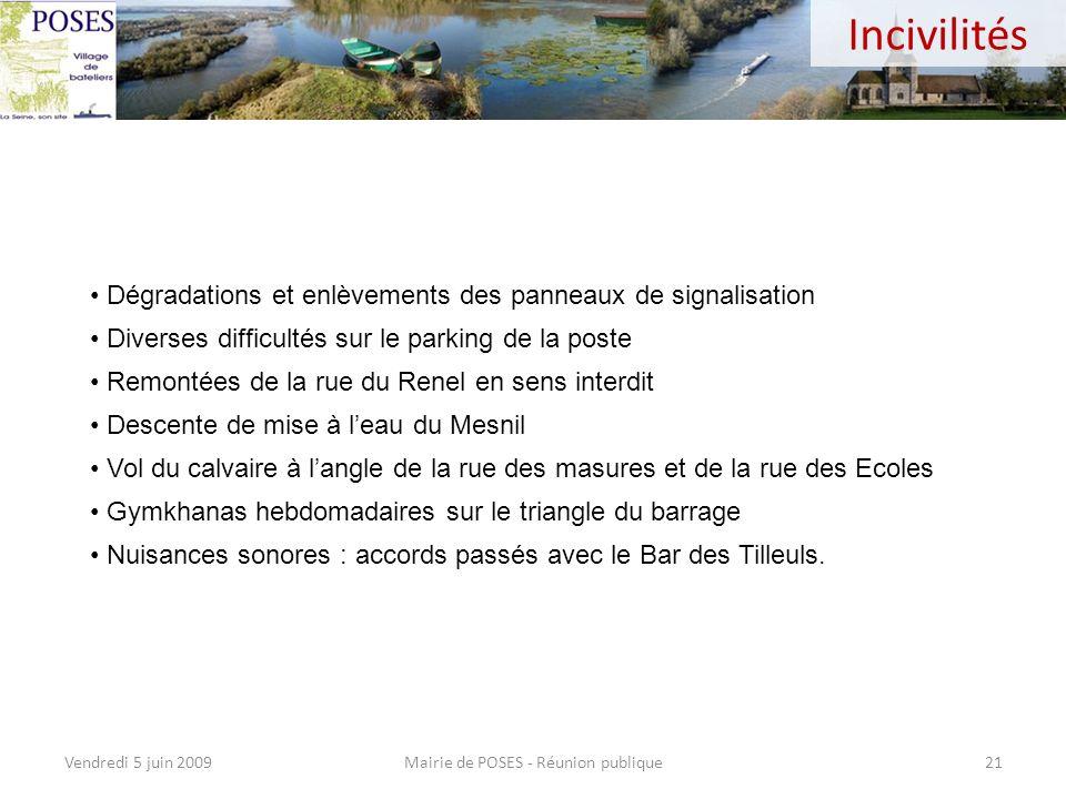 Ramassage des poubelles Mairie de POSES - Réunion publiqueVendredi 5 juin 200920 Le ramassage des ordures est une compétence CASE (Agglomération)… Il