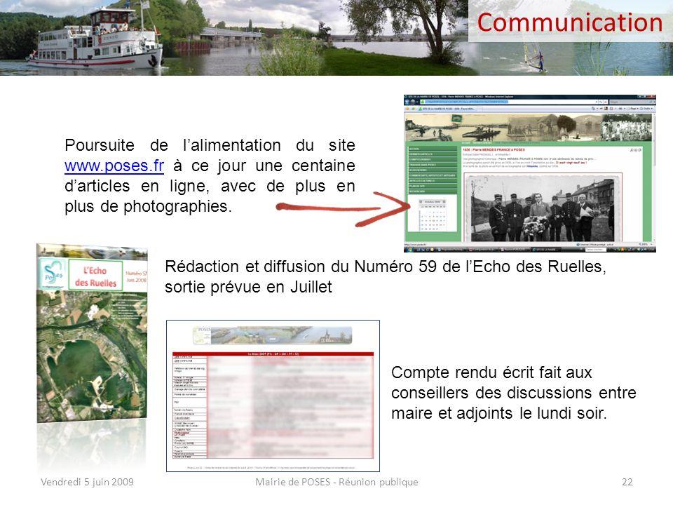 Incivilités Mairie de POSES - Réunion publiqueVendredi 5 juin 200921 Dégradations et enlèvements des panneaux de signalisation Diverses difficultés su