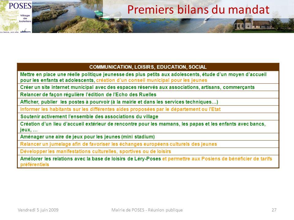 Premiers bilans du mandat Mairie de POSES - Réunion publiqueVendredi 5 juin 200926 VIE PRATIQUE ET QUOTIDIEN Mettre en place une gestion transparente