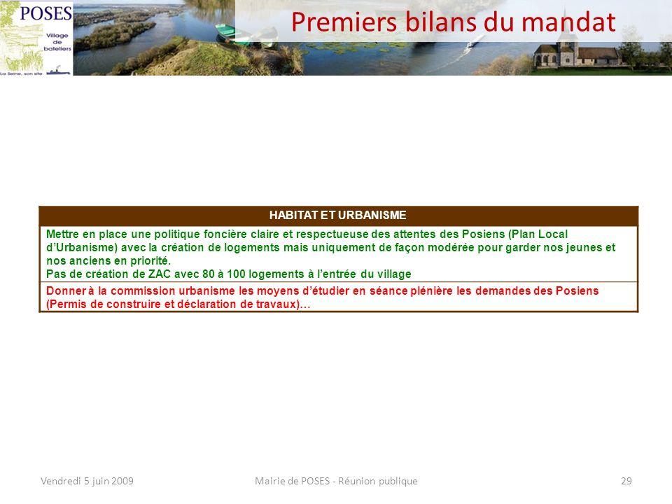 Premiers bilans du mandat Mairie de POSES - Réunion publiqueVendredi 5 juin 200928 TOURISME ET ENVIRONNEMENT Soutenir les projets permettant à Poses d