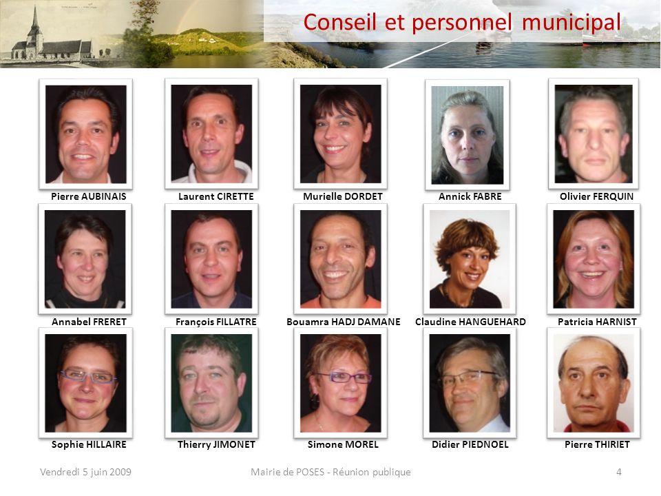 Mairie de POSES - Réunion publiqueVendredi 5 juin 200914 Travaux et services (4) Mise en place du totem rue de Léry Réhabilitation du mur du gîte rural rue de Provence