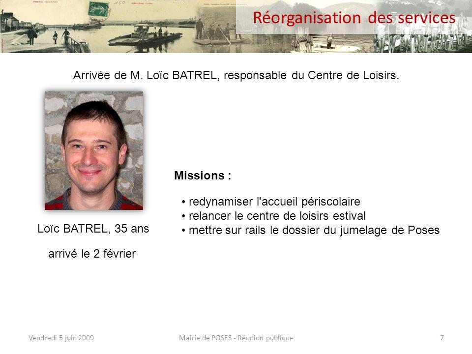 Vendredi 5 juin 2009Mairie de POSES - Réunion publique6 Personnel communal (2) Marie NIGRON Yolande RAVIART Claudine WINDYS