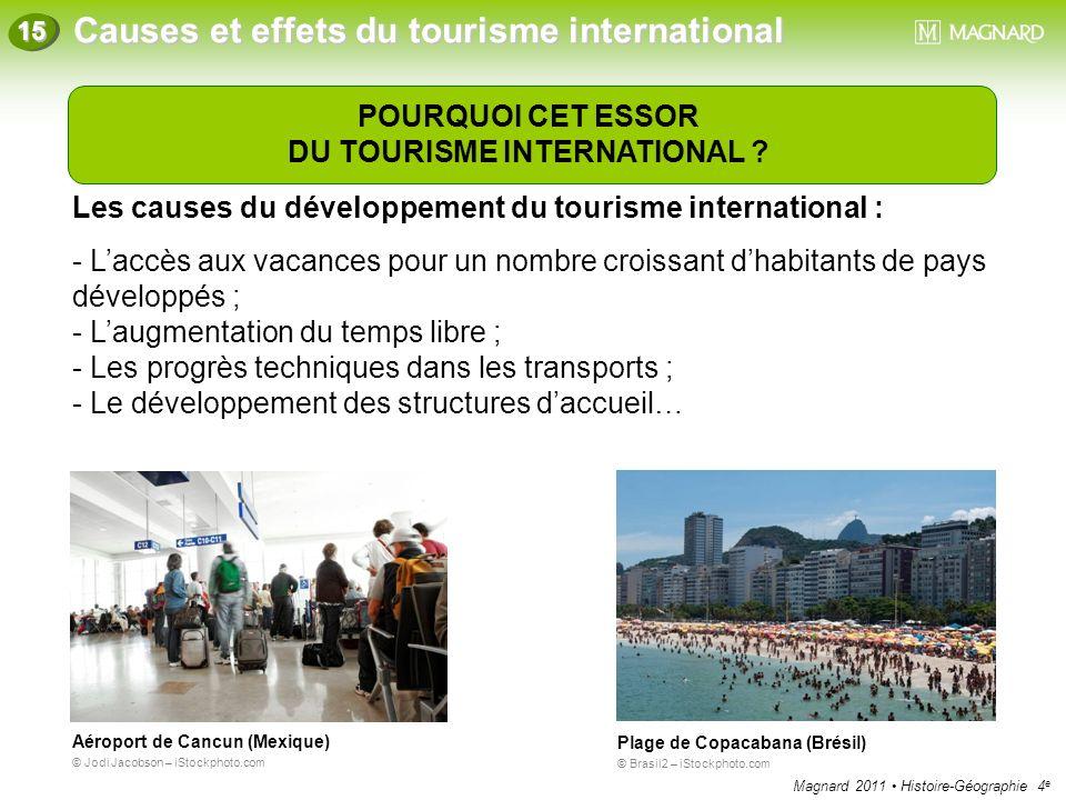 Magnard 2011 Histoire-Géographie 4 e Causes et effets du tourisme international 15 POURQUOI CET ESSOR DU TOURISME INTERNATIONAL ? Les causes du dévelo