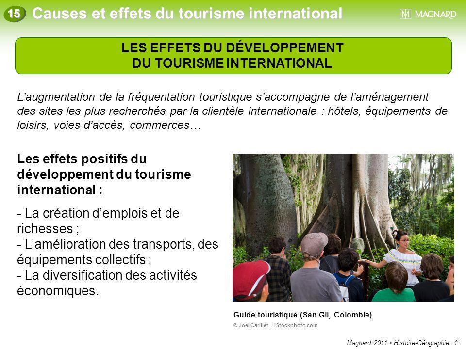 Magnard 2011 Histoire-Géographie 4 e Causes et effets du tourisme international 15 LES EFFETS DU DÉVELOPPEMENT DU TOURISME INTERNATIONAL Laugmentation