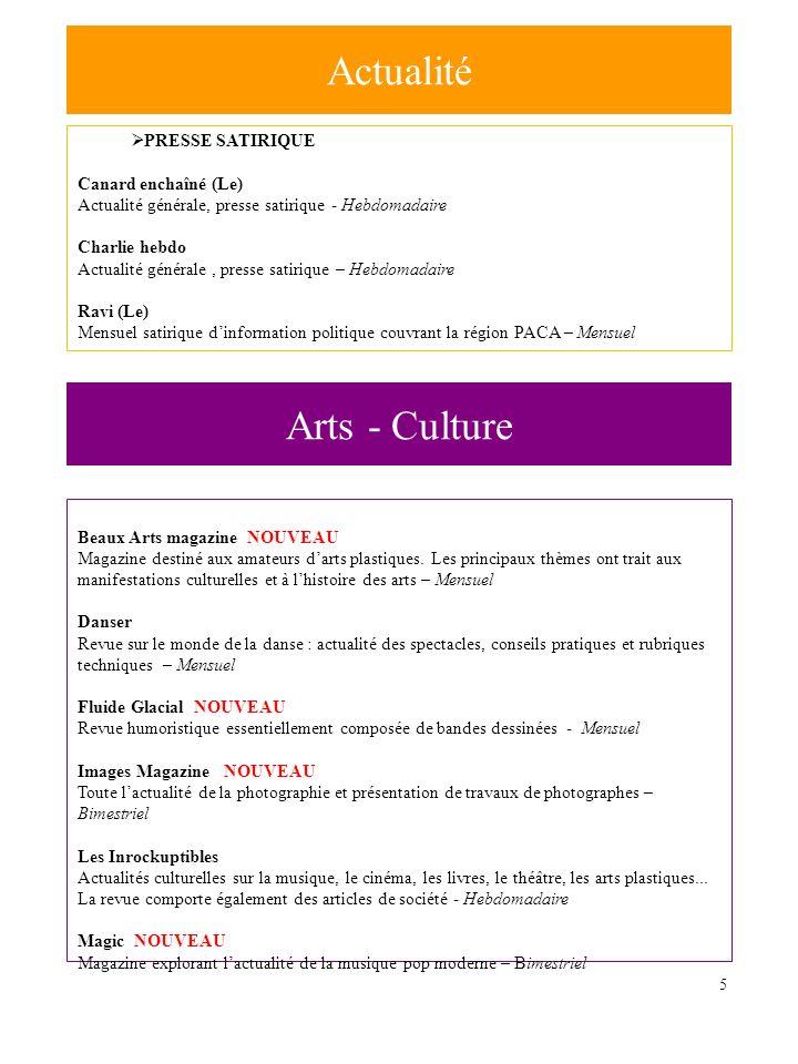 5 PRESSE SATIRIQUE Canard enchaîné (Le) Actualité générale, presse satirique - Hebdomadaire Charlie hebdo Actualité générale, presse satirique – Hebdo