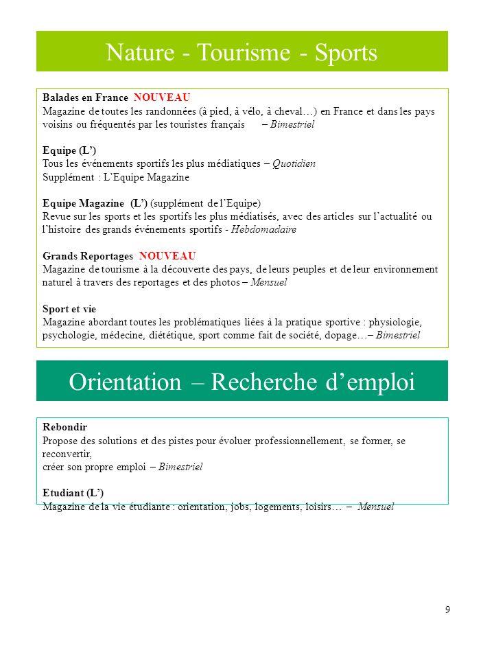 9 Nature - Tourisme - Sports Balades en France NOUVEAU Magazine de toutes les randonnées (à pied, à vélo, à cheval…) en France et dans les pays voisin