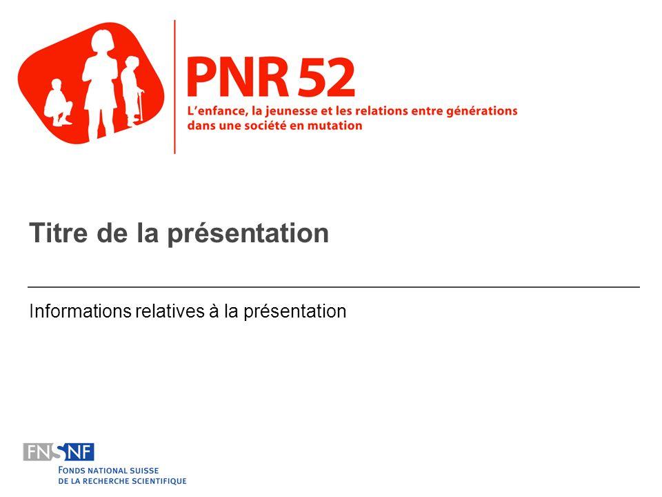 Lenfance, la jeunesse et les relations entre générations dans une société en mutation3 But et raison dêtre des PNR Les programmes nationaux de recherche sont à la jonction entre théorie, empirisme et pratique.