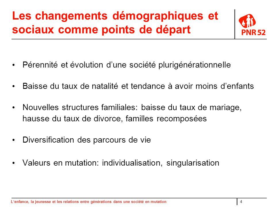 Lenfance, la jeunesse et les relations entre générations dans une société en mutation15 F.