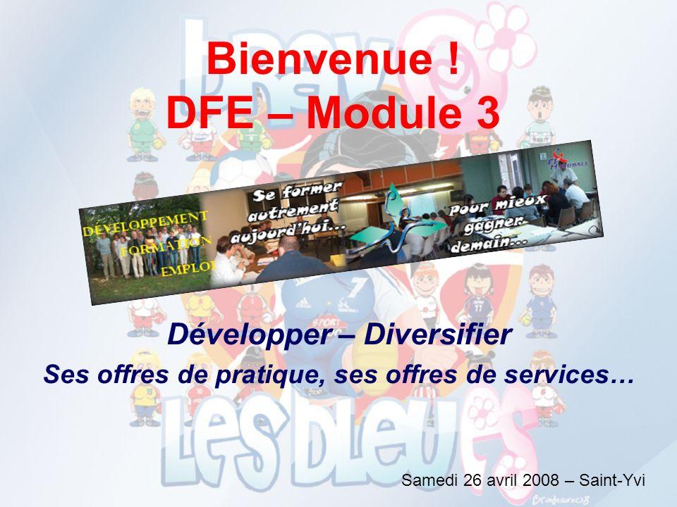 Bienvenue ! DFE – Module 3 Développer – Diversifier Ses offres de pratique, ses offres de services… Samedi 26 avril 2008 – Saint-Yvi