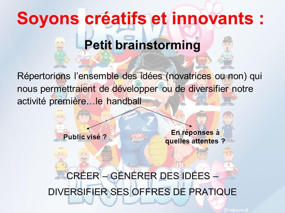 Soyons créatifs et innovants : Petit brainstorming Répertorions lensemble des idées (novatrices ou non) qui nous permettraient de développer ou de div