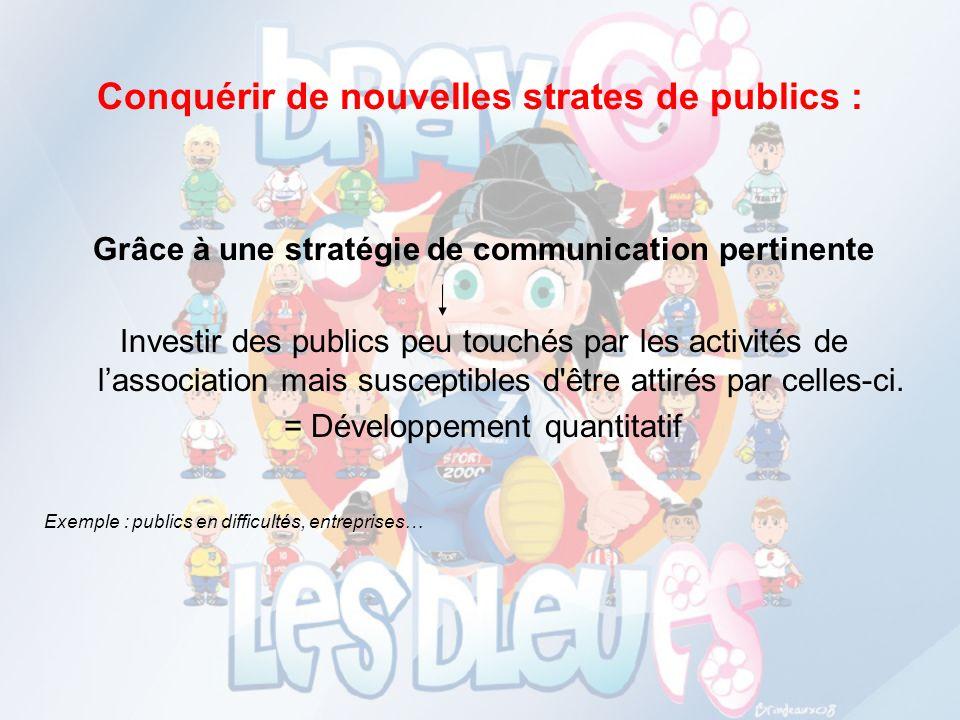 Conquérir de nouvelles strates de publics : Grâce à une stratégie de communication pertinente Investir des publics peu touchés par les activités de la