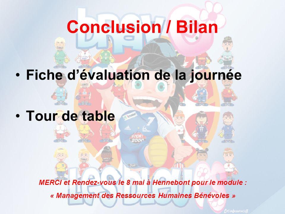Conclusion / Bilan Fiche dévaluation de la journée Tour de table MERCI et Rendez-vous le 8 mai à Hennebont pour le module : « Management des Ressource