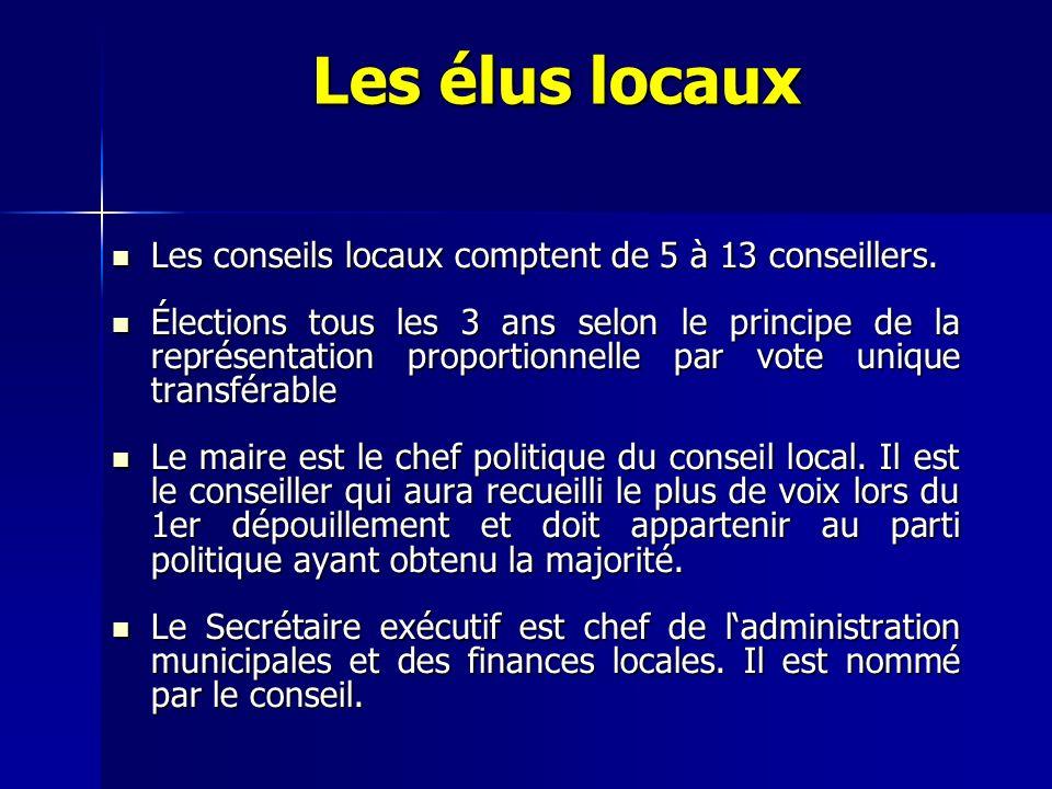 Les élus locaux Les conseils locaux comptent de 5 à 13 conseillers. Les conseils locaux comptent de 5 à 13 conseillers. Élections tous les 3 ans selon