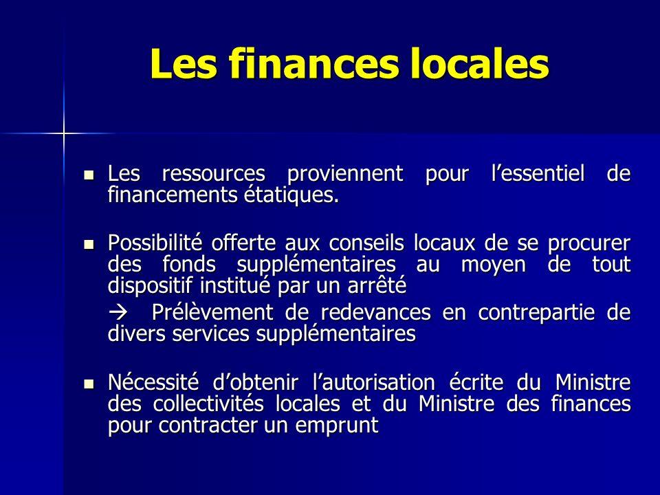 Les finances locales Les ressources proviennent pour lessentiel de financements étatiques. Les ressources proviennent pour lessentiel de financements